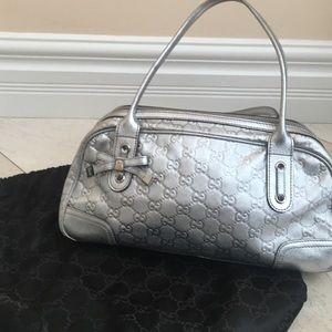Gucci silver metallic bag